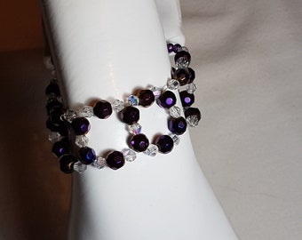 Purple beaded bracelet with glass bicones