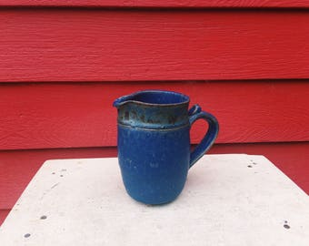Bright Blue Stoneware Pitcher with Handle