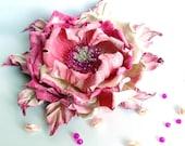 Pink Brooch pin White flower For women Flower from leather Rose pink flower Leather pink flower Leather rose Rose party mothers day rose