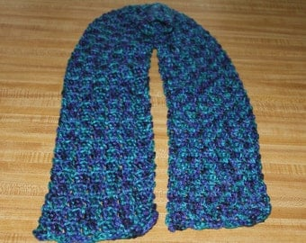 Hand Crochet Blue variegated scarf