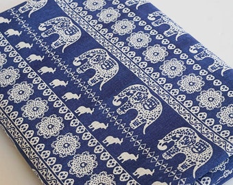 Vintage Retro Cotton Linen Fabric Elephant Navy Blue Indian Style