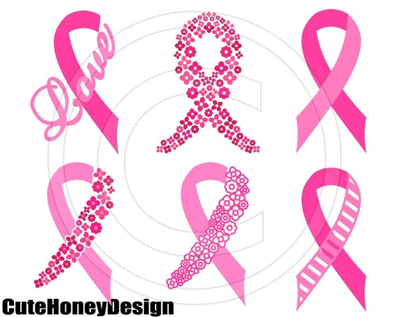 Breast Cancer Awareness Ribbon Digital Cutting File Silhouette
