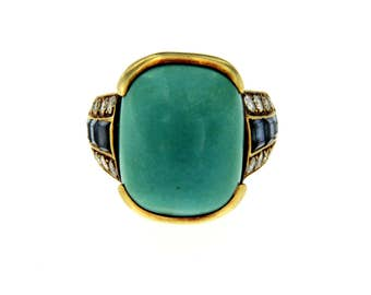 Turquoise Diamond Sapphire Gold Ring