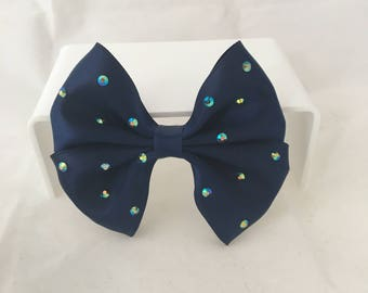 Navy Bridesmaid Gem Bow Hair Clip, nautical theme