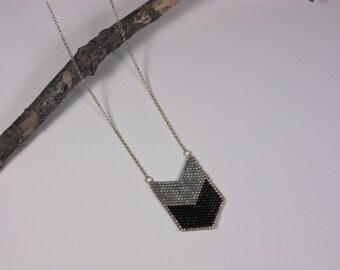 """Necklace """"Chevron grey black"""""""