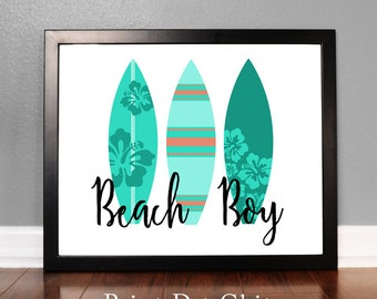 Beach Boy, Surf Board Wall art, Printable Art, Surf Board Decor, Nautical Decor, Beach, Green, Mint Green, Turquoise, Instant Download
