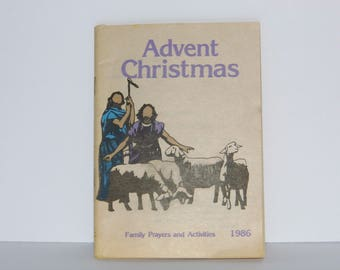Advent Christmas Book - family prayers & activites 1986 - 63 page paperback - See my shop for MORE Awesome Vintage Christmas!