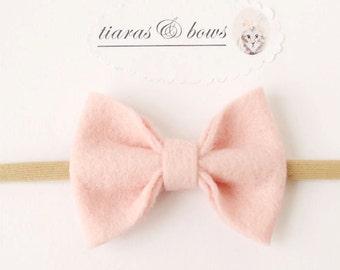 Classic hair bow /wool blend /milkshake pink/ baby Hair Bow / Women Headband / newborn / nylon headband / hair accessories