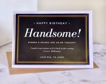 Happy Birthday for partner - husband - boyfriend - Custom - Personalised- Greeting Card