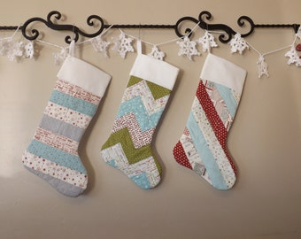 Quilted Christmas Stockings Set of 3