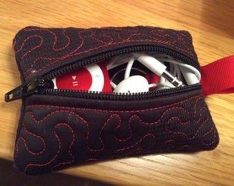Notions pouch, stitch marker case,  knitters notion case, stitch marker pouch, iPod shuffle case, ear bud case,  gift idea, key case.