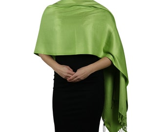 Lime Green Ladies Pashmina Scarf Wrap Shawl - Tassel Finishing - Handmade
