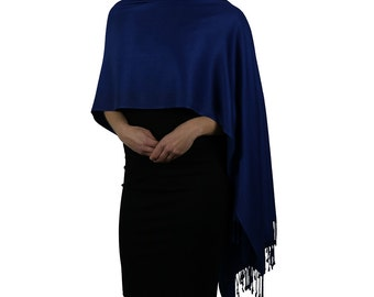 Royal Blue Navy Pashmina Scarf Wrap Shawl Stole - Handmade
