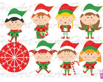 NEW Cute Elves Clipart -  Elves Digital Clipart, Elves DIY, Cute Holiday Stickers, Elves Sticker, Cute Elves Printables, Cute Elves Stickers