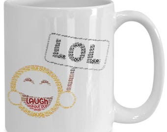 LOL Laugh Out Loud!!! Adorable Emoji Graces the Front and Back of 15 oz Ceramic Coffee Cup / Tea Cup / Coffee Mug / Pencil Holder!
