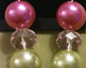 Pink and green glass Dangle Earrings