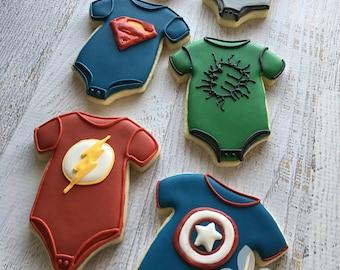 1 Dozen Superhero Onesies Decorated Sugar Cookies