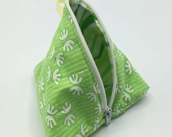 Triangle zipper pouch, coin purse, unique gift. Green Pattern