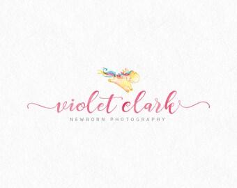Premade logo logo de acuarela, insignia de los niños, logo de fotografía, logo con estilo, paquete Branding, marcas de agua