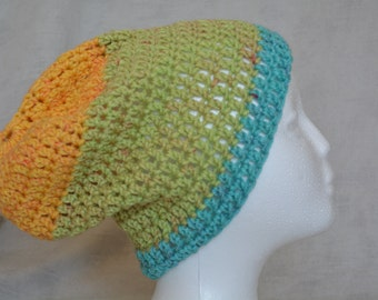 Slouchy crocheted beanie (green, yellow, blue, red)