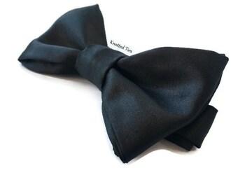 Satin Black Bow Tie, Wedding Bow Tie, Mens Gift, Boys Bowtie