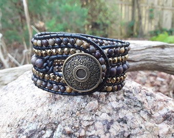 5 Row Leather Wrap Cuff Bracelet with Earthtones