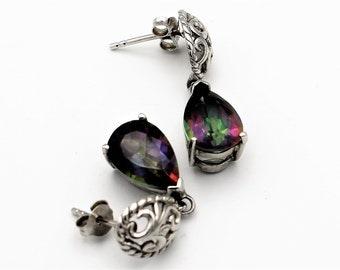 Sterling Silver Mystic Topaz Drop Earrings