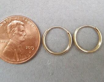12mm hoops/12mm gold hoop/14k yellow gold hoop earrings/12mm 14k yellow gold hoop earrings/cute hoop earrings