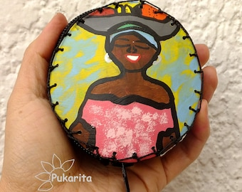 "Purse craft made Totumo, with ""Palenquera"" Original artwork, hand painted, made in Colombia"