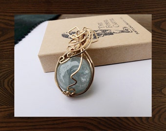 Wirewrapped Aquamarine Cabachon Gold Filled Pendant