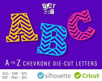 CHEVRON FONT SVG Chevron Monogram Svg Files Zigzag Pattern Letters Svg Cuttable Vinyl Initials Cricut vinyl cutters Silhouette Alphabet Dxf