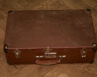 Vintage suitcase, luggage, cottage chic decor, brown suitcase, mid century suitcase, travel train case, travel suitcase, soviet luggage