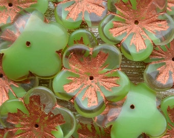 23mm Large Green Czech Glass Flower Beads With Copper Picasso Finish, Czech Beads, Czech Picasso Beads