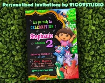 Dora Birthday Invitation-Dora Invitation-Dora Birthday Party-Dora the Explorer Birthday-Dora Birthday Party-Digital file
