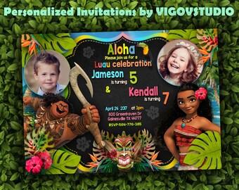 Double Birthday Party Invitation-Moana Invitation- Luau Invitation-Aloha Invitation-Sibling birthday-Dual birthday with photo-Digital file