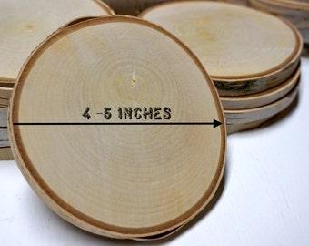 "5 White birch tree wood slices - birch tree rounds - birch wood coasters - 4.0-5.0"" diameter"