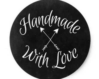 "24 PCS ""Handmade With Love"" Chalkboard Script Sticker, Seals, Scrapbook, Stationary, Paper, Paper Stickers, Stickers, Party Supply"