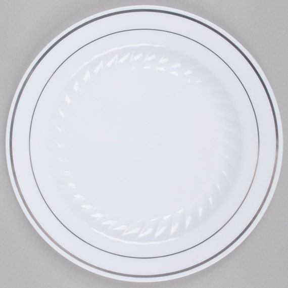decorative plastic plates for wedding 50 pcs 7 quot silver line border white plastic 3461