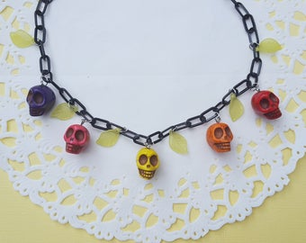 Rockabilly Skulls and Leaves Necklace / Gothabilly necklace, Day of the Dead, Dia de los Muertos, Psychobilly necklace