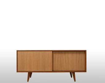 Mid Century Media Console, Tv Stand, Sideboard, Scandinavian Design, Retro Console with Sliding Doors