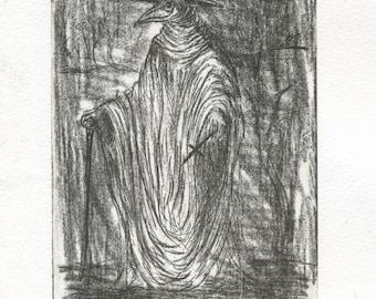 original engraving plague doctor.