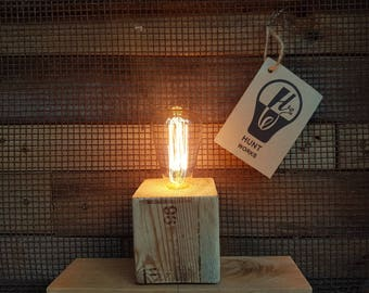 Reclaimed wood block table lamp / light. filament bulb. hand made. industrial. rustic. reclaimed timber. upcycled. edison bulb