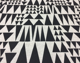 Linen fabric black and white with triangle, modern style