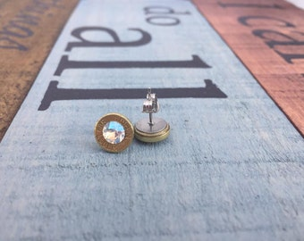 9mm Bullet Earring with Crystal