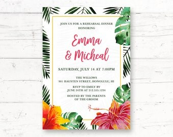 Hawaiian Rehearsal Dinner Printable Invitation, Aloha, Tropical, Hibiscus Flower, Palm Leaves Custom Printable Invite
