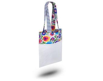 Cotton Bag Loxia Shopping bag Cotton tote bag  - Rainbow Folk White