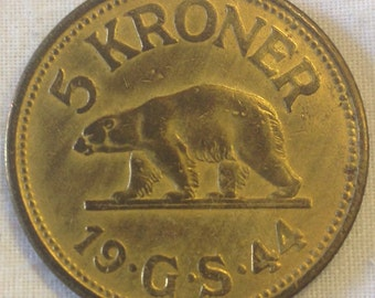 Rare Greenland Coin 5 Kroner from 1944.  Antique coin. Condition Very Fine.