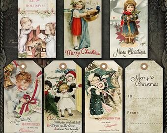 Digital Christmas Tags, Printable Christmas Tags, Vintage Christmas Tags, Christmas Gift Tags, Old fashioned Holiday Tags, Gift Tags