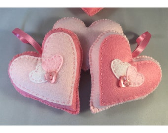 Hand stitched pink hanging hearts, home decor, any occassion, set of 2 hanging felt hearts. (HH002)