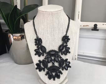 Black Statement Bib Necklace